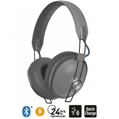 3d50885edc9 Audífonos Bluetooth 24 Hrs Reproducción Estilo Retro HTX80B Gris